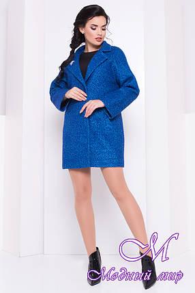 Женское стильное весеннее пальто с брошью (р. S, M, L) арт. Кларенс крупное букле - 9801, фото 2