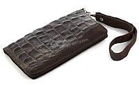 Удобный кожаный чехол-футляр с кармашком для телефона на молнии ручная работа big  (101124)