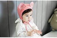 Детская трикотажная шапочка с завязками