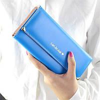 Великолепный женский кошелек голубого цвета Lan Jin Jue