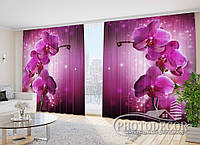 """3D ФотоШторы в зал """"Сливовая орхидея"""" 2,7м*3,5м (2 полотна по 1,75м), тесьма"""