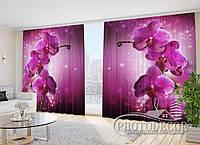 """3D ФотоШторы в зал """"Сливовая орхидея"""" 2,7м*4,0м (2 полотна по 2,0м), тесьма"""
