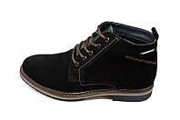Ботинки мужские замшевые демисезонные на байке Multi-Shoes Franc Black.пр-во ПОЛЬША