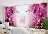 """3D Фото Шторы в зал """"Пурпурная орхидея"""" 2,7м*3,5м (2 полотна по 1,75м), тесьма"""