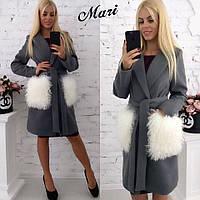 Пальто женское стильное с карманами из натурального меха-лама кашемир на подкладке 3 цвета 2Gmil169