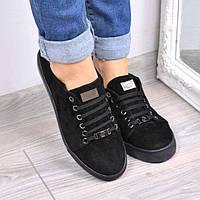 Слипоны кеды женские Philippe Plein черные замша 3662, кеды женские осенняя обувь