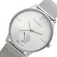 Женские часы WoMaGe 654 серебряные на плетеном ремешке