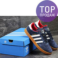Мужские кроссовки Adidas Gazelle, темно-синие с красным / кроссовки мужские Адидас Газель, замшевые, модные