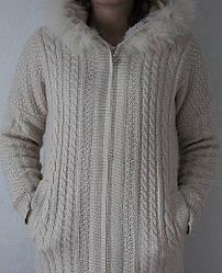 Вязаное женское пальто