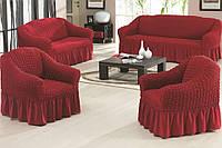 Комплект чехлов на диван и 2 кресла вишня