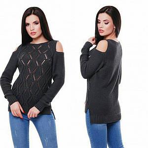 Женский вязанный свитер с открытыми плечами и ажурным узором 42-48 р.