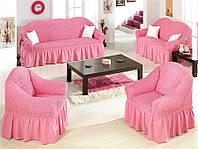 Комплект чехлов на диван и 2 кресла розовый