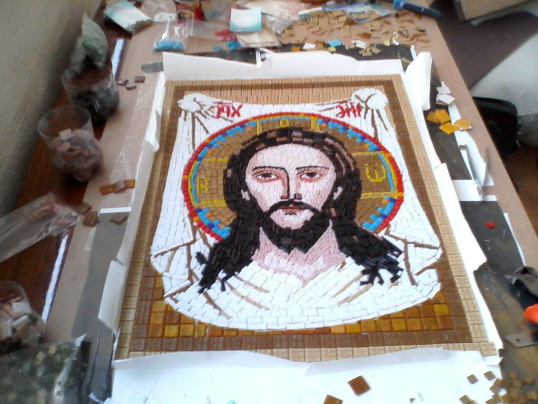 Икона Спасителя из мозаики для храма