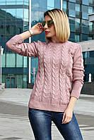 Свитер женский вязанный Жанна (6 цветов), женский свитер с косам, вязаный свитер от производителя