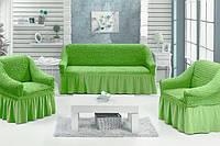 Комплект чехлов на диван и 2 кресла салатовый
