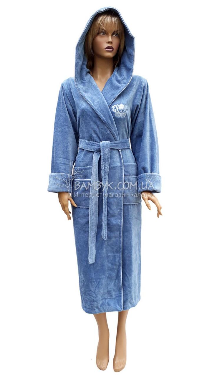 1 Халат женский Nusa (бамбуковый) № 3845-серо-голубой
