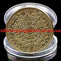 """Сувенирная монета""""Календарь ацтеков. Камень солнца"""""""