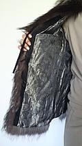 Женская жилетка из чернобурки с кожаными вставками, фото 3
