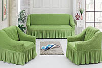 Комплект чехлов на диван и 2 кресла зеленый