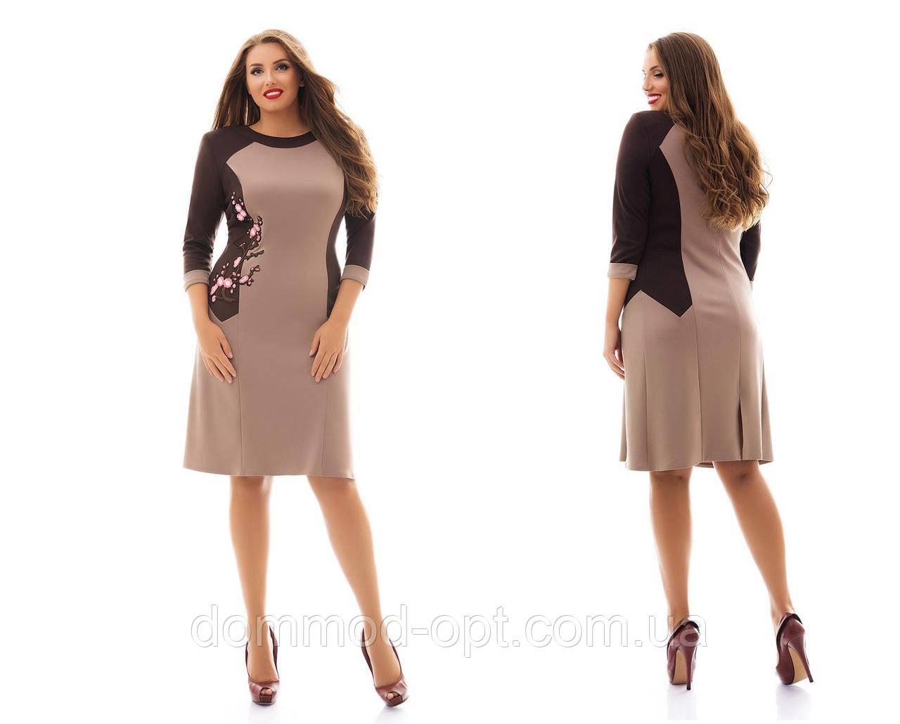 """Женское модное платье MIDI больших размеров с аппликацией """"сакура"""" №959 (р. 48-62)"""