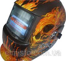 Сварочная маска Хамелеон OPTECH S777a Череп в огне премиум класса с 4-мя оптическими сенсорами (NEW S777C)