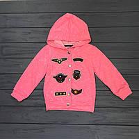 Детская Кофта с капюшоном на кнопках для девочек оптом р.4-8 лет