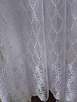 """Тюль сеточка французская с вышивкой белая """"Милано 1201"""", фото 1"""