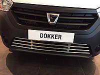 Автомобильная решетка на бампер к Renault Dokker 2013+ гг.
