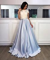 Восхитительное женское вечернее платье (кружево, атлас, юбка клеш, длина макси в пол, кофта-топ) РАЗНЫЕ ЦВЕТА!