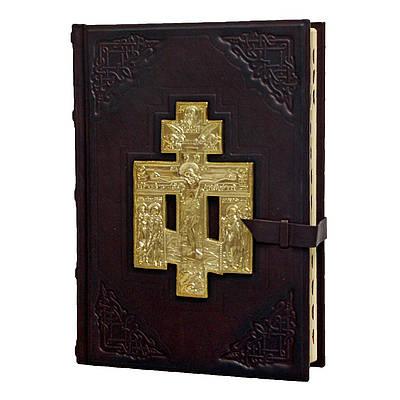 Библия с литьем в кожаном переплете