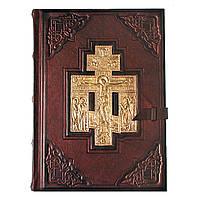 Библия большая с литьем в кожаном переплете