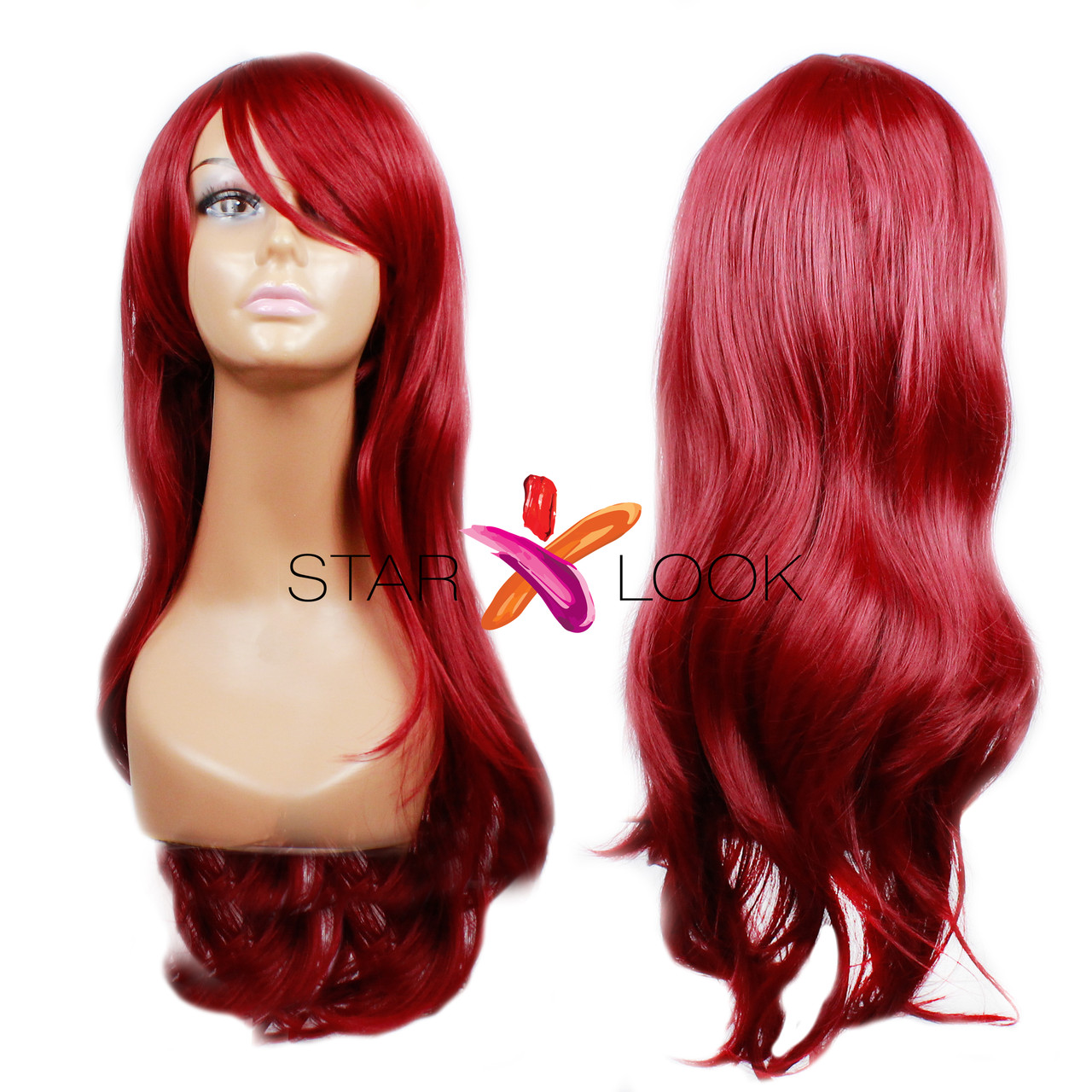 Парик с длинными искусственными волосами красный