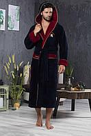 Халат мужской длинный с капюшоном NS-2865 Nusa синий, L/XL