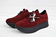 Женские кроссовки из замша на высокой подошве цвет марсал