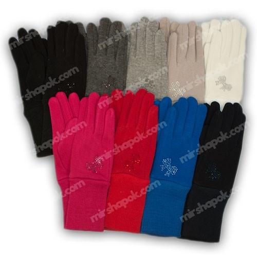 Перчатки для девочки трикотажные с подкладкой и манжетом, M02-M