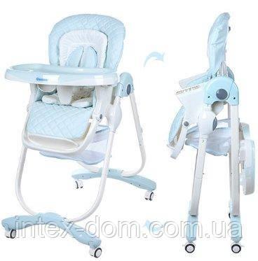 Детский стульчик для кормления Bambi Голубой Dolce (M 3236-4) с мягким сиденьем