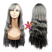 Волнистый серый парик с челкой, фото 1