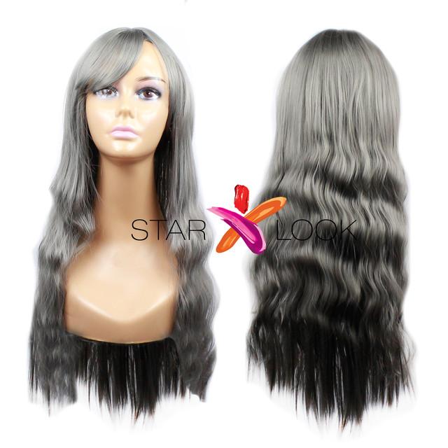 Волнистый серый парик с челкой