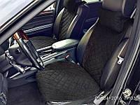 Комплект накидок на передние и задние  сидения черные из алькантары (с ушками)