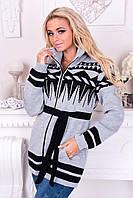 Вязаная женская кофта Ириска. Серый+Черный