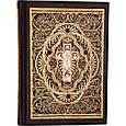 Библия с литьем и филигранью(золото) и гранатами в замшевой шкатулке, фото 3
