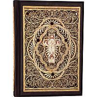 Библия с литьем и филигранью(золото) и гранатами в замшевой шкатулке