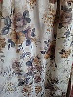 """Портьерная ткань принт жаккард """"Веточки роз"""" ш. 150 см"""