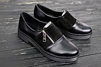 Туфли женские на низком ходу с застёжкой молния, демисезон