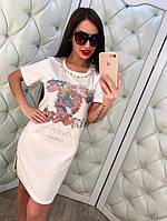 """Модное, летнее платье-футболка из коттона """"Chanel, декорировано стразами и бусинками"""" РАЗНЫЕ ЦВЕТА"""