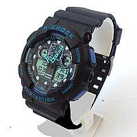 Мужские часы Casio G-Shock GA 100 Black Blue(реплика)