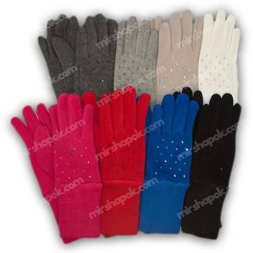 Перчатки для девочки трикотажные с подкладкой и манжетом, M03-L