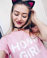 Футболка розовая | Номе girl logo