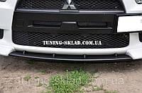 Перемычка на бампер Mitsubishi Lancer X (перемычка между клыками Митсубиси Лансер 10)