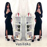 Модное длинное платье с привлекательной распоркой